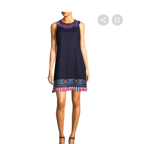 Kate Spade Linen embroidered Tassel dress 4